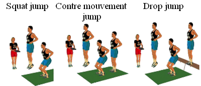 Squat jump, contre-mouvements jump et drop jump sur tapis de Bosco
